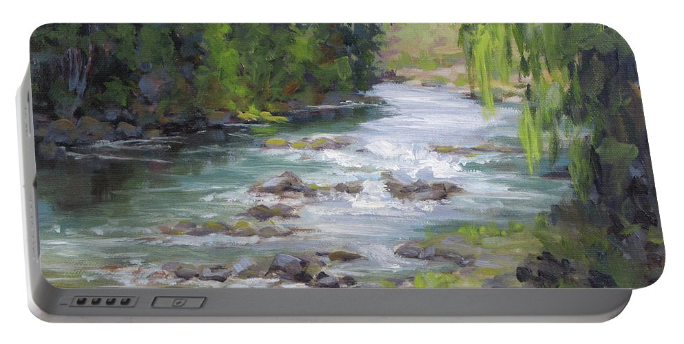 Creek Portable Battery Charger featuring the painting Little Creek by Karen Ilari