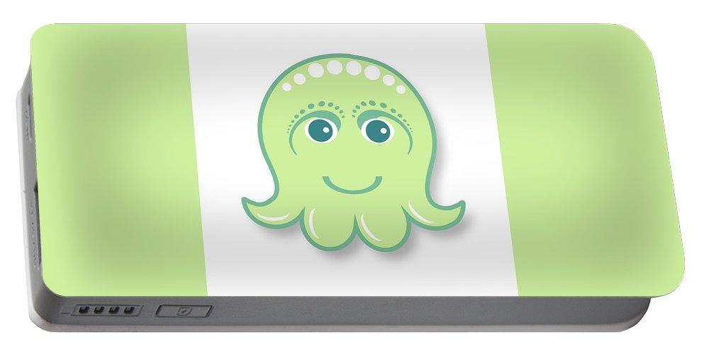 Little Octopus Portable Battery Charger featuring the digital art Little cute green octopus by Ainnion