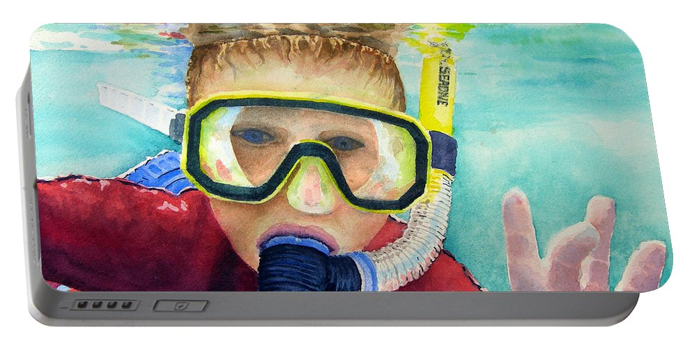 Diver Portable Battery Charger featuring the painting Little Diver by Sam Sidders