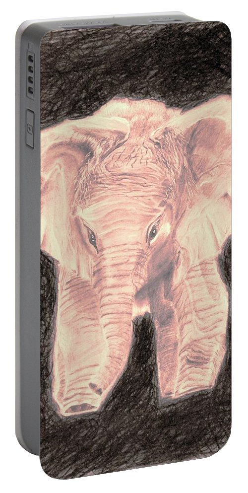 Beautiful Portable Battery Charger featuring the drawing Little Elephant by Medea Ioseliani
