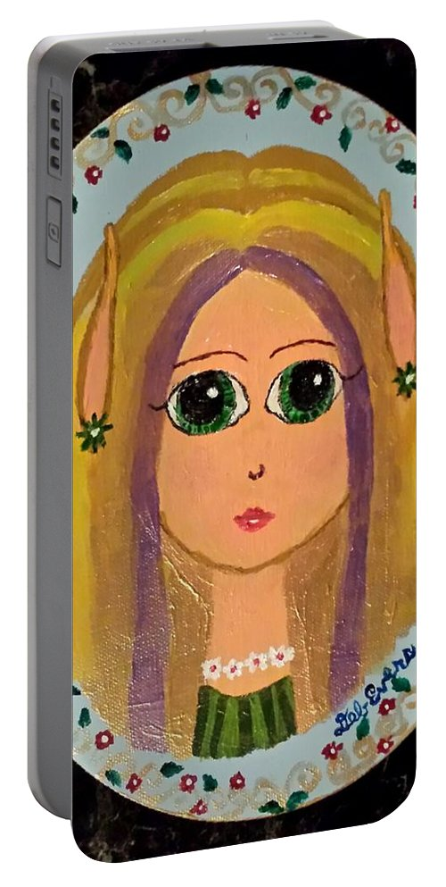 Blond Elf Girl Portrait Mystical Mythical Oval Cute Flower Frame Portable Battery Charger featuring the painting Little Elf Girl by Deborah Evers