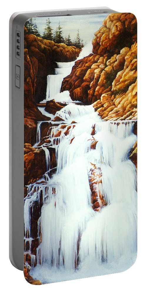 Waterfall Portable Battery Charger featuring the painting Little Firehole Falls by Teri Rosario