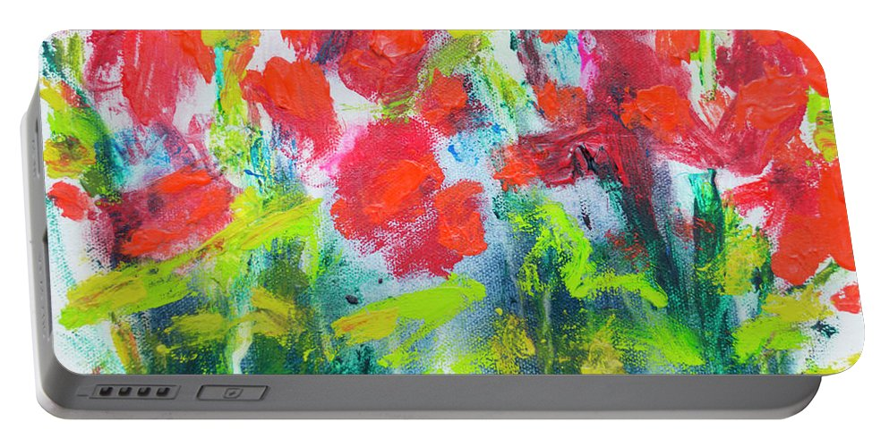 Abstract Portable Battery Charger featuring the painting Little Garden 01 by Claire Desjardins