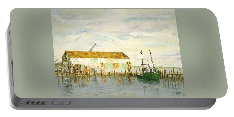 Portable Battery Charger featuring the painting Little Giant Trawler by Tony Scarmato