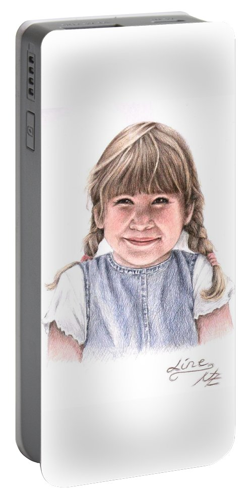 Girl Portable Battery Charger featuring the drawing Little Girl by Nicole Zeug