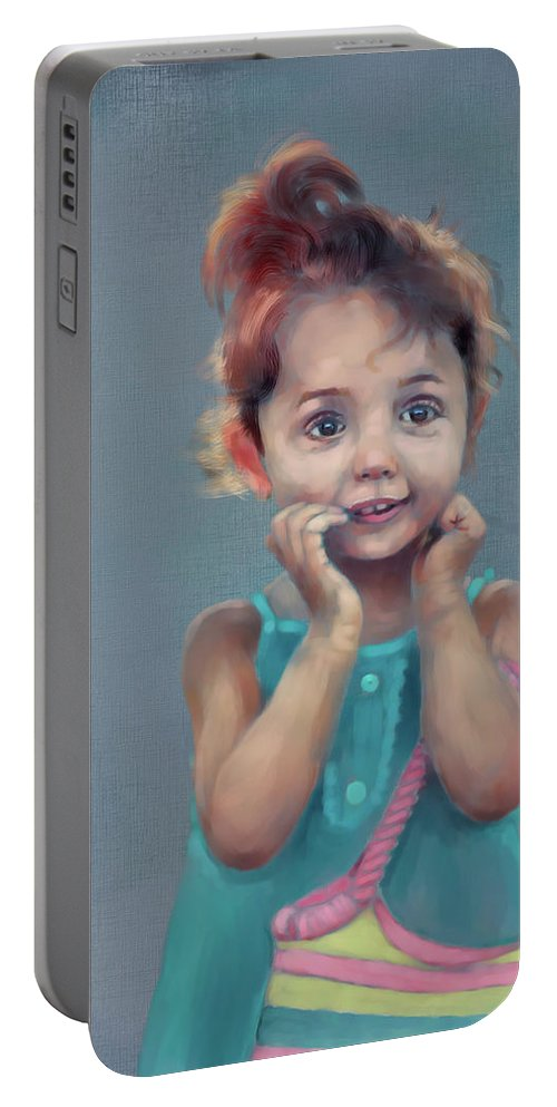 Figure Portable Battery Charger featuring the digital art Little Girl With Purse by Scott Bowlinger