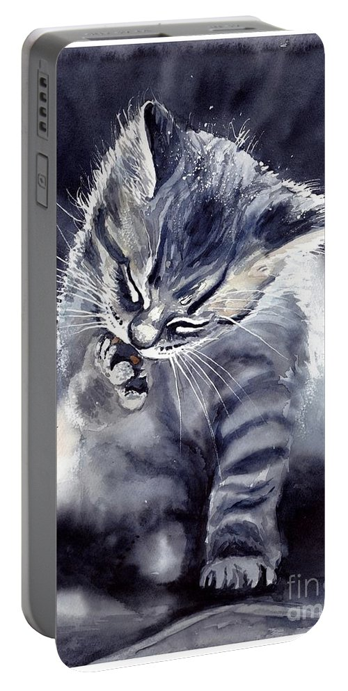 Little Portable Battery Charger featuring the painting Little Grey Cat by Suzann Sines