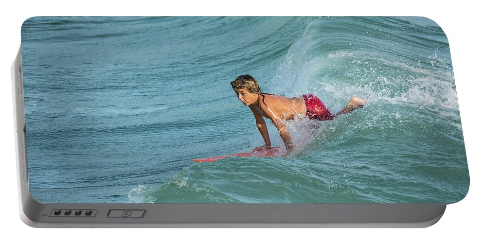 Little Guy Big Wave Portable Battery Charger featuring the photograph Little Guy Big Wave by Don Columbus