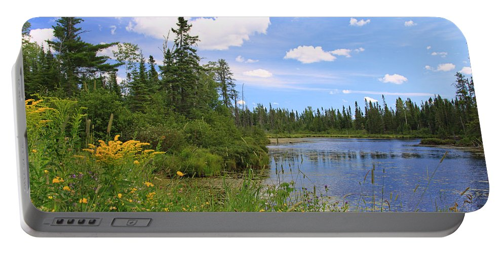 Lake Water Park Nature Canoeing Kayaking Blue Boundary Waters Minnesota Portable Battery Charger featuring the photograph Little Iron Lake by Shari Jardina