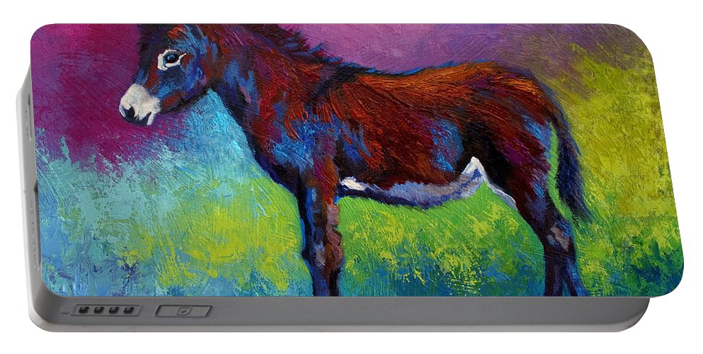 Burro Portable Battery Charger featuring the painting Little Jenny by Marion Rose