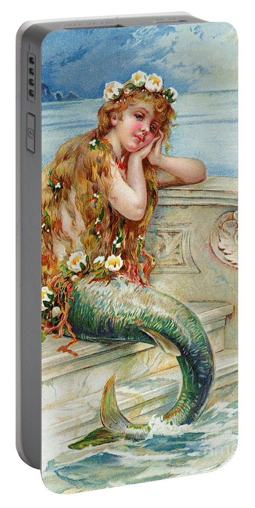 Mermaid Portable Battery Charger featuring the painting Little Mermaid by E S Hardy