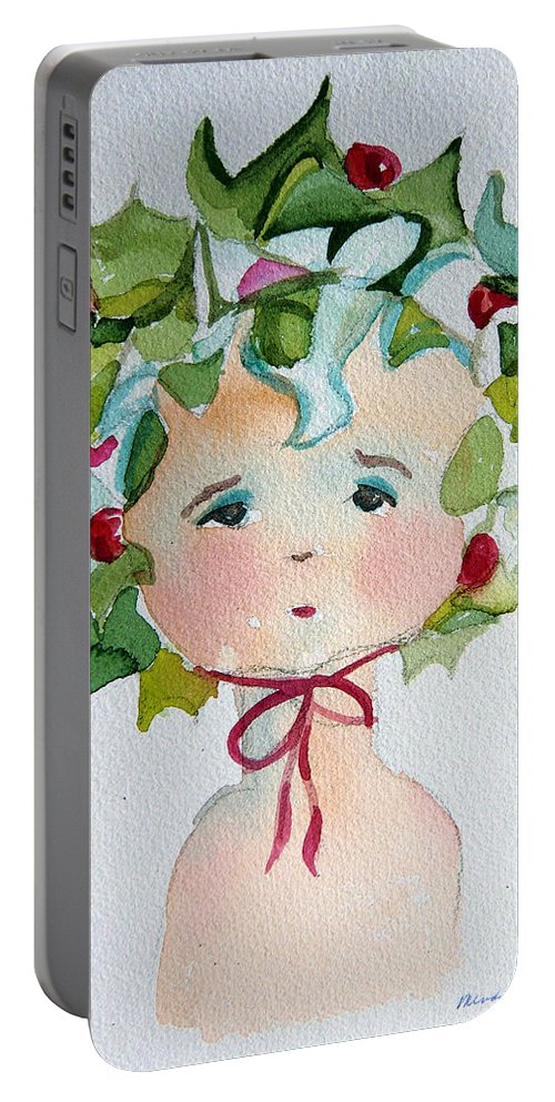 Miss Portable Battery Charger featuring the painting Little Miss Innocent Ivy by Mindy Newman