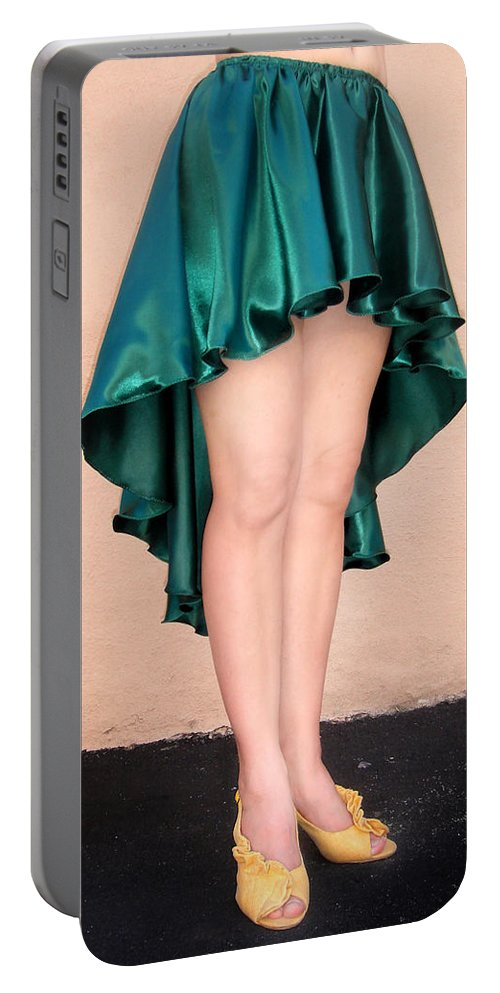 Ameynra Portable Battery Charger featuring the photograph Ameynra Fashion Satin High Low Skirt, Dark-green by Sofia Metal Queen