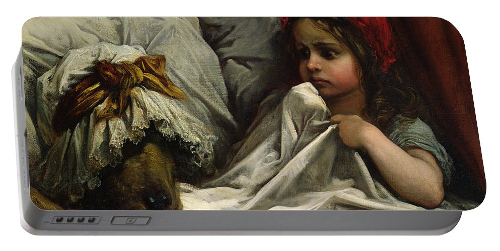 Wolf; Disguise; Child; Girl; Fairy Tale; Story; Glasses; Bed; Nightcap; Fear Portable Battery Charger featuring the painting Little Red Riding Hood by Gustave Dore