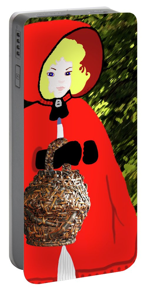 Childrens Art Portable Battery Charger featuring the painting Little Red Riding Hood In The Forest by Marian Cates