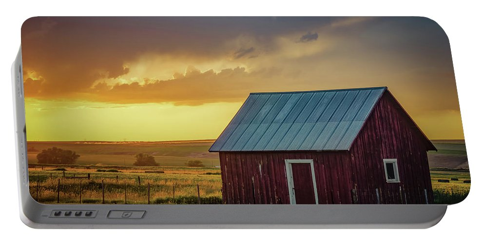 Farmland Portable Battery Charger featuring the photograph Little Red Shed by Don Schwartz