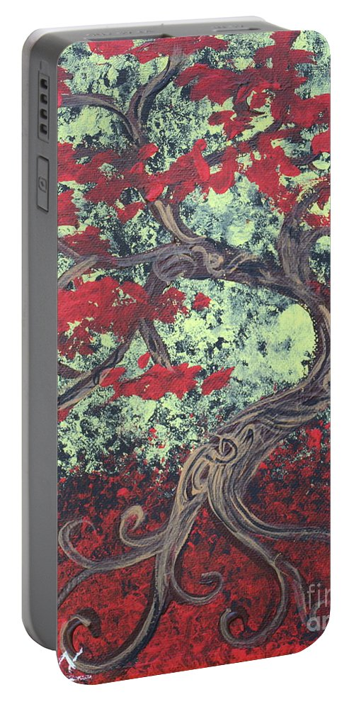 Red Tree Portable Battery Charger featuring the painting Little Red Tree Series 3 by Stefan Duncan