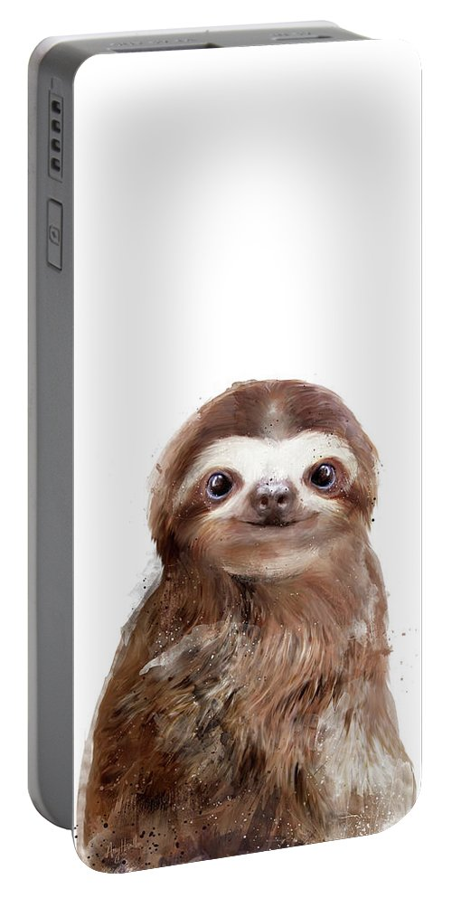 Sloth Portable Battery Charger featuring the painting Little Sloth by Amy Hamilton