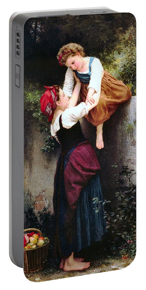 William Bouguereau Little Thieves 1872 Old Master Masters Realism French Artist Apples Orchard Girl Girls Children Portable Battery Charger featuring the painting Little Thieves 1872 by William Bouguereau