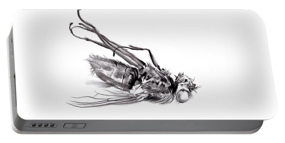 Figurative Portable Battery Charger featuring the drawing little things too, senescence I2 by Paul Davenport