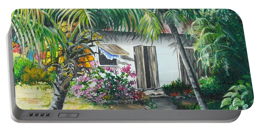 Caribbean Painting Typical Country House In Trinidad And The Islands With Coconut Tree Tropical Painting Portable Battery Charger featuring the painting Little West Indian House 2...sold by Karin Dawn Kelshall- Best