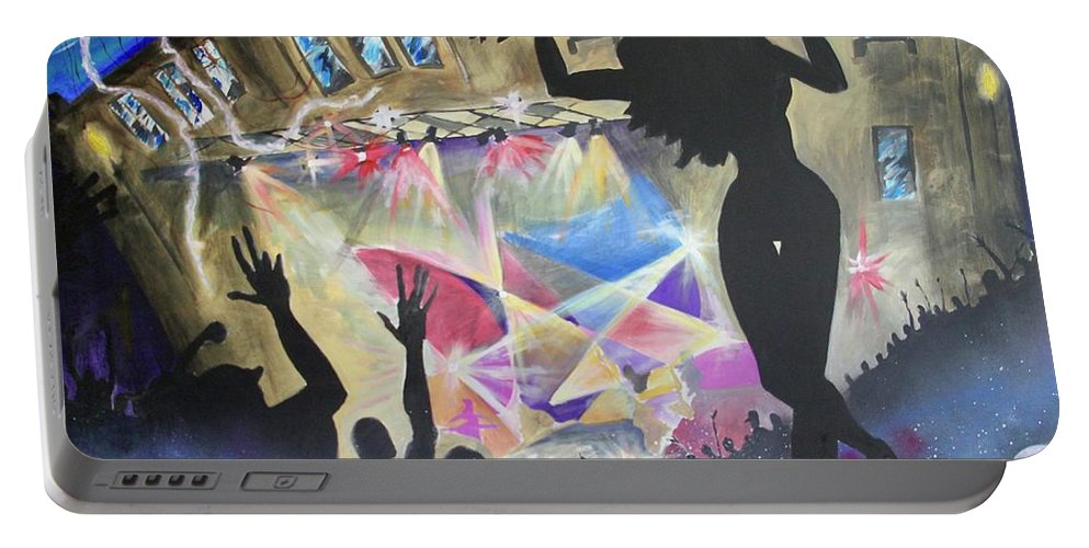 Nightlife Portable Battery Charger featuring the painting Live At The Jelly by Ross Wood
