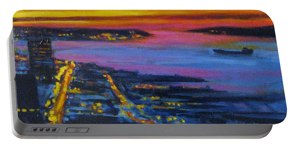 Night Scenes Portable Battery Charger featuring the painting Live Eye Over Dartmouth Ns by John Malone