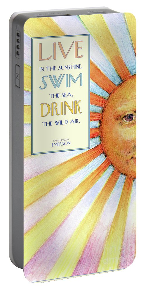 Sun Portable Battery Charger featuring the painting Live In The Sunshine by Lora Serra