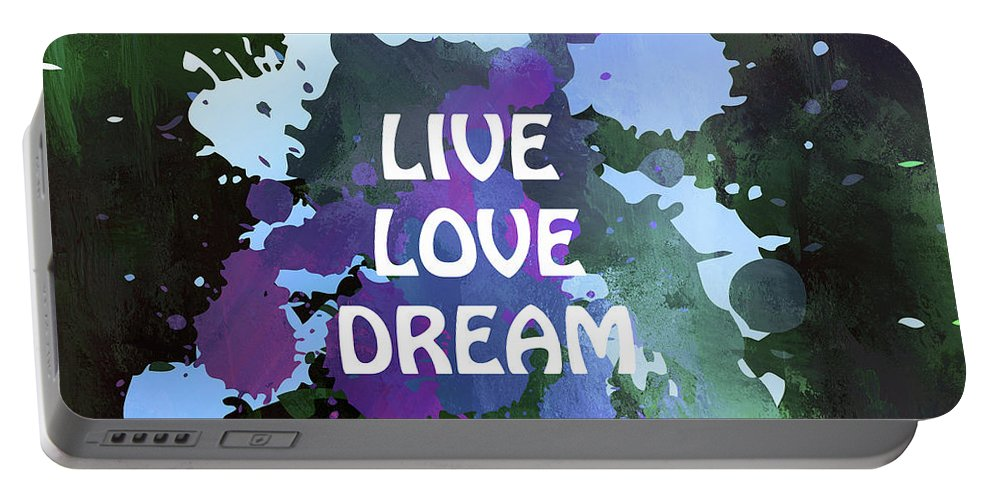 Live Love Dream Portable Battery Charger featuring the mixed media Live Love Dream Green Grunge by Georgiana Romanovna