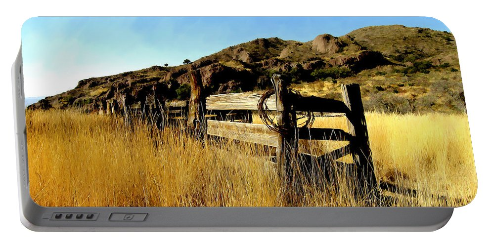 Southwestern Portable Battery Charger featuring the photograph Livery Fence At Dripping Springs by Kurt Van Wagner