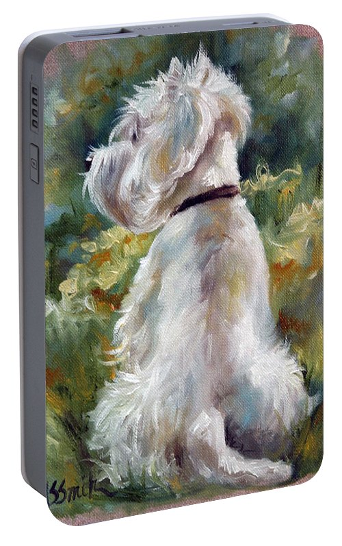 Art Portable Battery Charger featuring the painting Living Color by Mary Sparrow