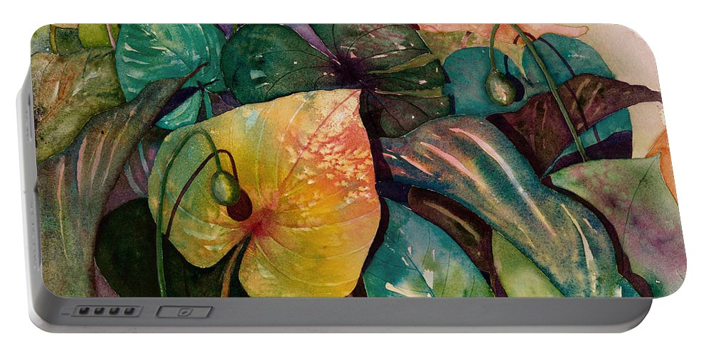Leaves Portable Battery Charger featuring the painting Living Color by Renee Chastant