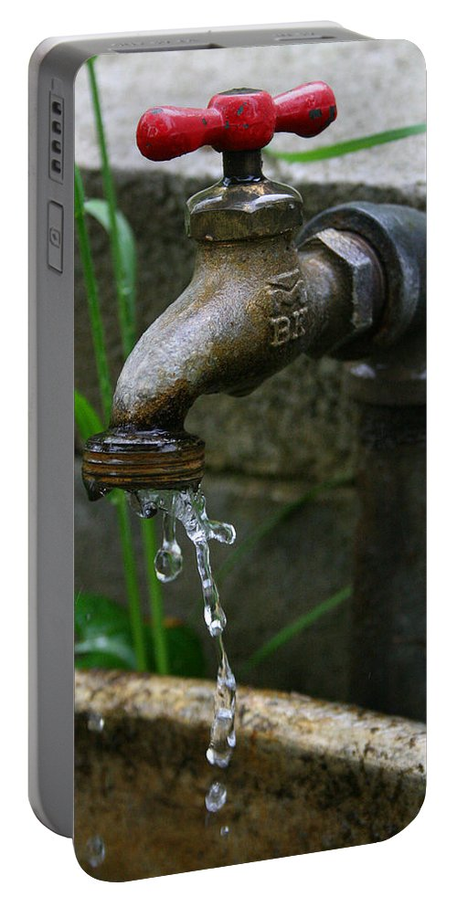 Water Faucet Valve Nature Garden Drop Dripping Red Wet Life Grow Nourish Rural Country Portable Battery Charger featuring the photograph Living Water by Andrei Shliakhau