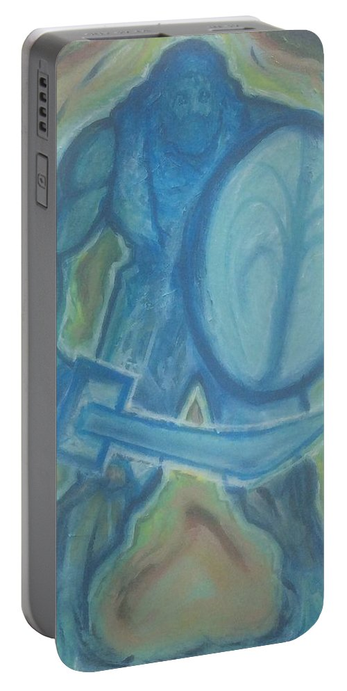 Mannaah Portable Battery Charger featuring the painting Living Water by Mannaah Blackwell
