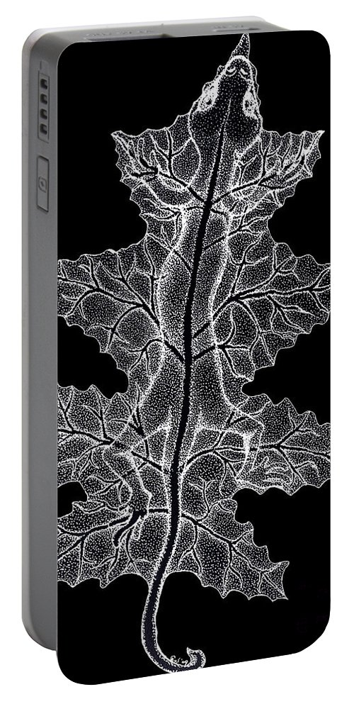Lizard Art Portable Battery Charger featuring the drawing Lizard And Leaf by Nick Gustafson