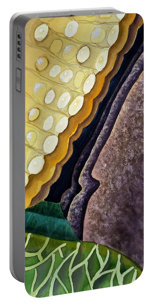 Abstract Art Portable Battery Charger featuring the painting Lizard Skin Abstract IIi by Irina Sztukowski