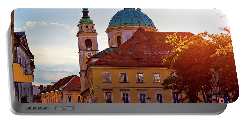 Ljubljana Portable Battery Charger featuring the photograph Ljubljana Church And Square Sunset View by Brch Photography