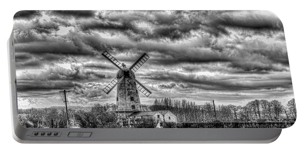 Llancayo Mill Portable Battery Charger featuring the photograph Llancayo Mill Usk 1 Mono by Steve Purnell