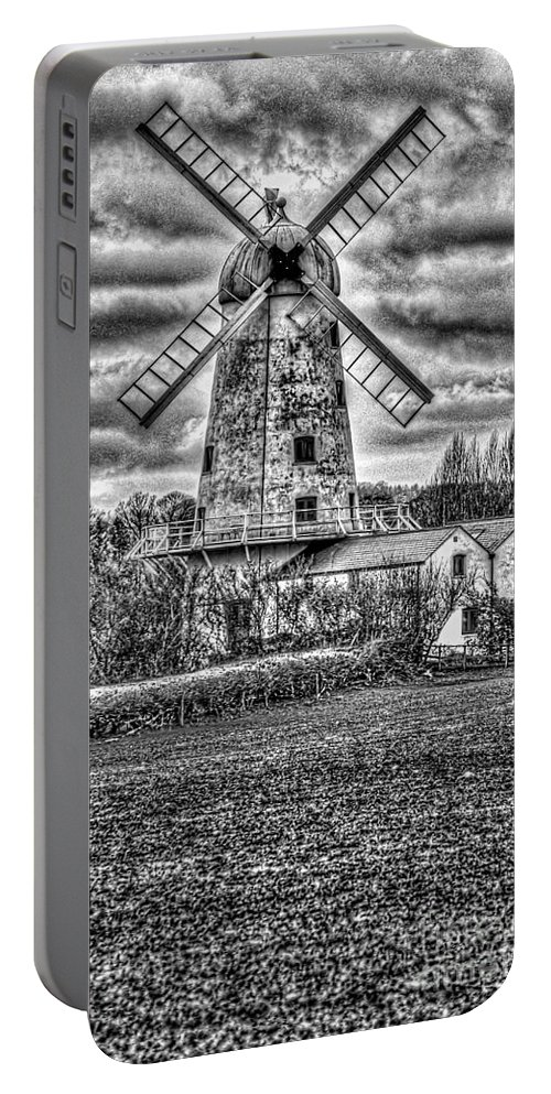 Llancayo Mill Portable Battery Charger featuring the photograph Llancayo Mill Usk 4 Mono by Steve Purnell