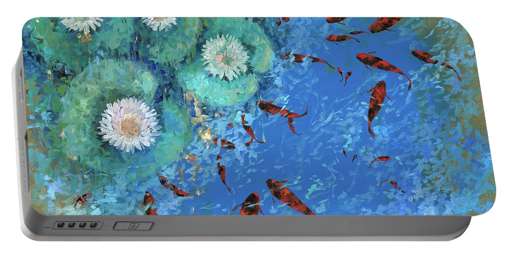 Fishscape Portable Battery Charger featuring the painting Lo Stagno by Guido Borelli