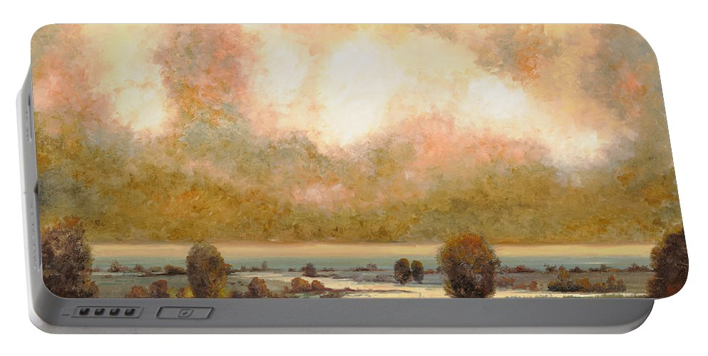 Pond Portable Battery Charger featuring the painting Lo Stagno Sotto Al Cielo by Guido Borelli