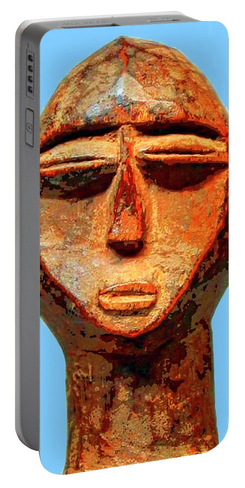 Africa Portable Battery Charger featuring the mixed media Lobi Figure by Dominic Piperata