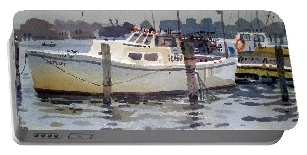 Lobster Boat Portable Battery Charger featuring the painting Lobster Boats In Shark River by Donald Maier