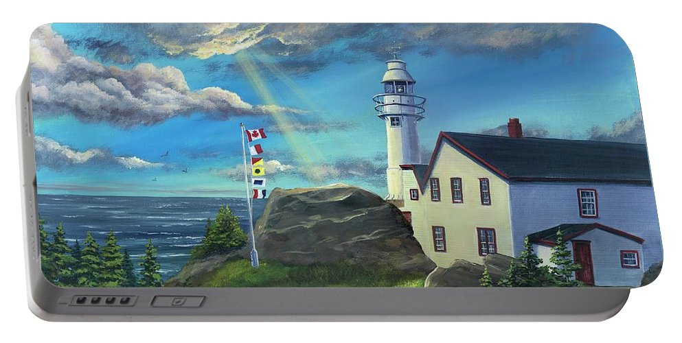 Lobster Cove Head Lighthouse Portable Battery Charger featuring the painting Lobster Cove Head Lighthouse, Rocky Harbour, Nl by Kimberly Ropson