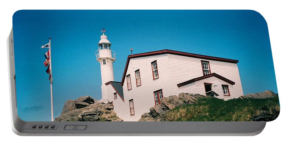 Lighthouse Portable Battery Charger featuring the photograph Lobster Cove Lighthouse by Donna Brown