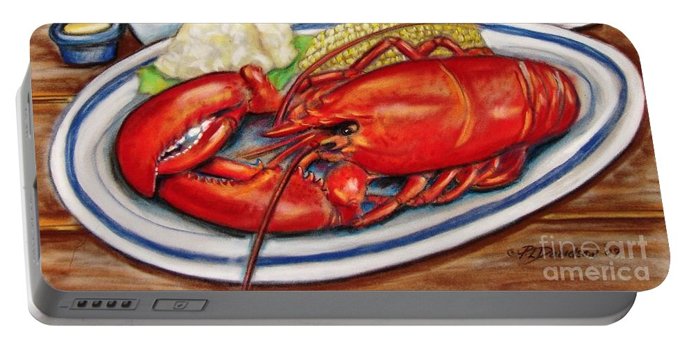 Kitchen Portable Battery Charger featuring the pastel Lobster Dinner by Patricia L Davidson