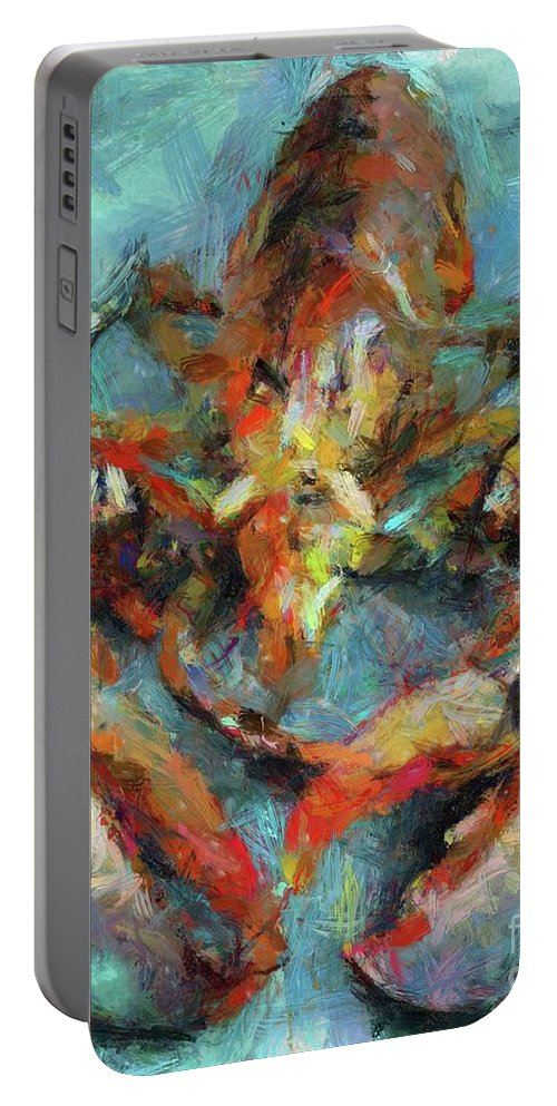 Seascape Portable Battery Charger featuring the painting Lobster by Dragica Micki Fortuna