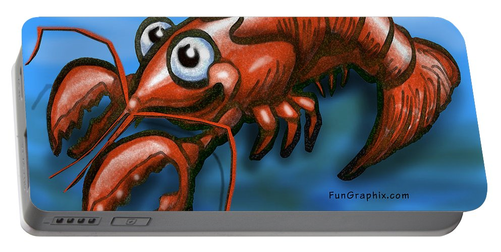 Lobster Portable Battery Charger featuring the greeting card Lobster by Kevin Middleton