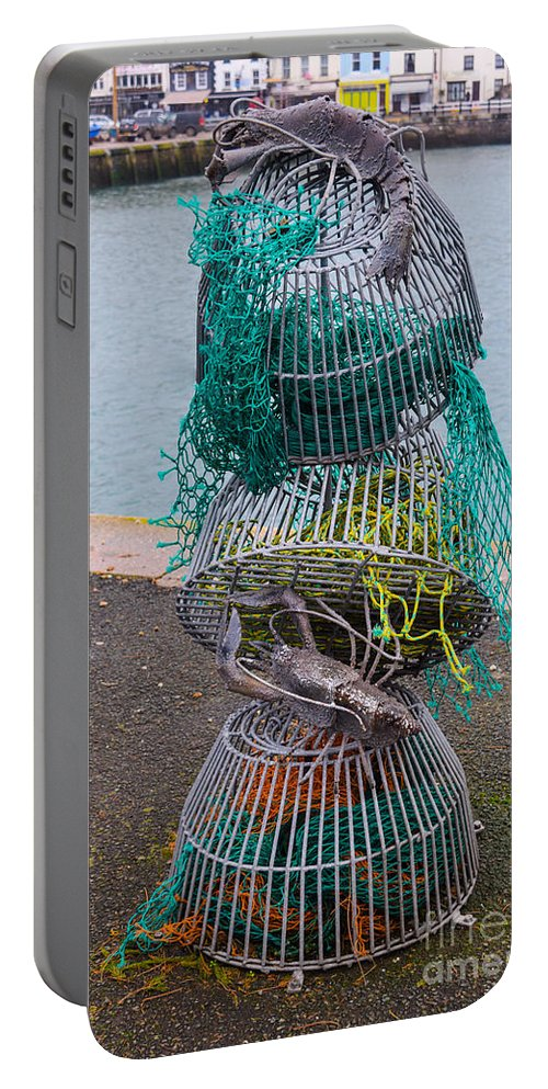 Sea Portable Battery Charger featuring the photograph Lobster Pots by Robert Edgar