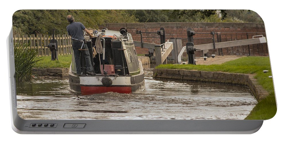 England - Canal - Lock - Barge - Water - Boat - Country Portable Battery Charger featuring the photograph Locking Up by Chris Horsnell